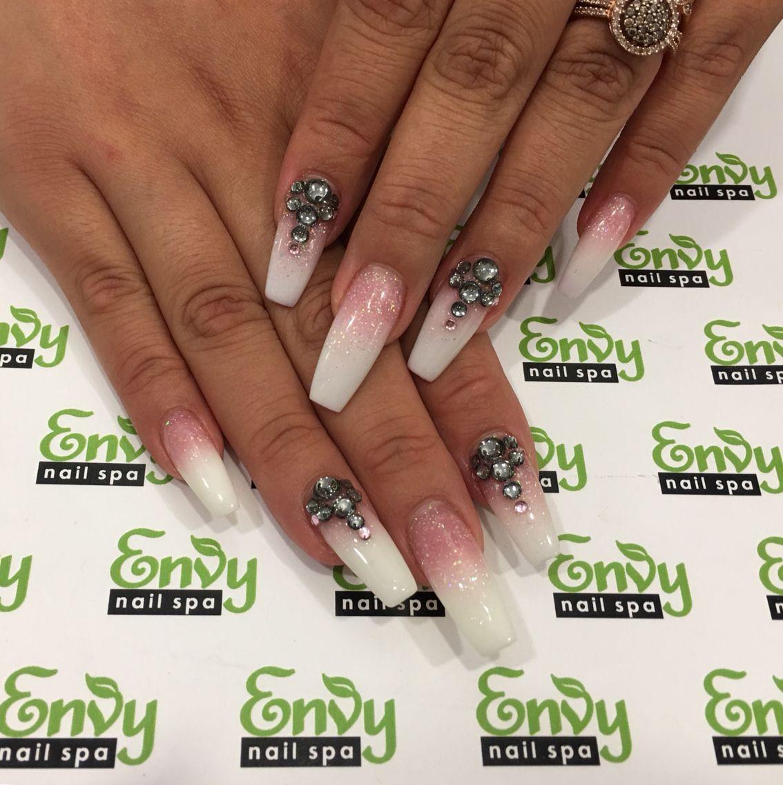 Pink White Glitter Swarovski Crystals Coffin Ballerina Shaped Nails Envy Nail Spa Nails Nail Designs Nail Envy