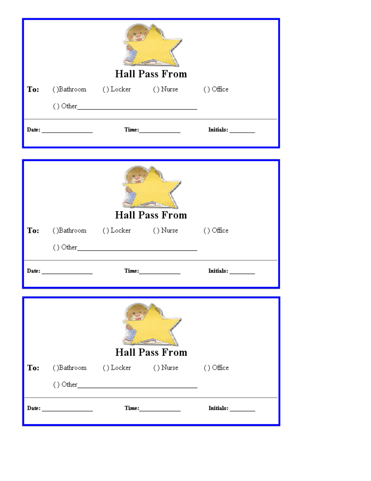 Free Hall Passes For School