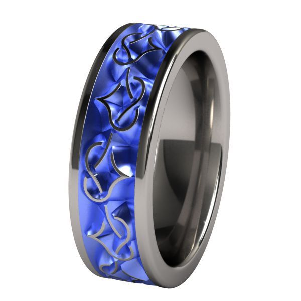 Mens Blue Titanium Wedding Bands