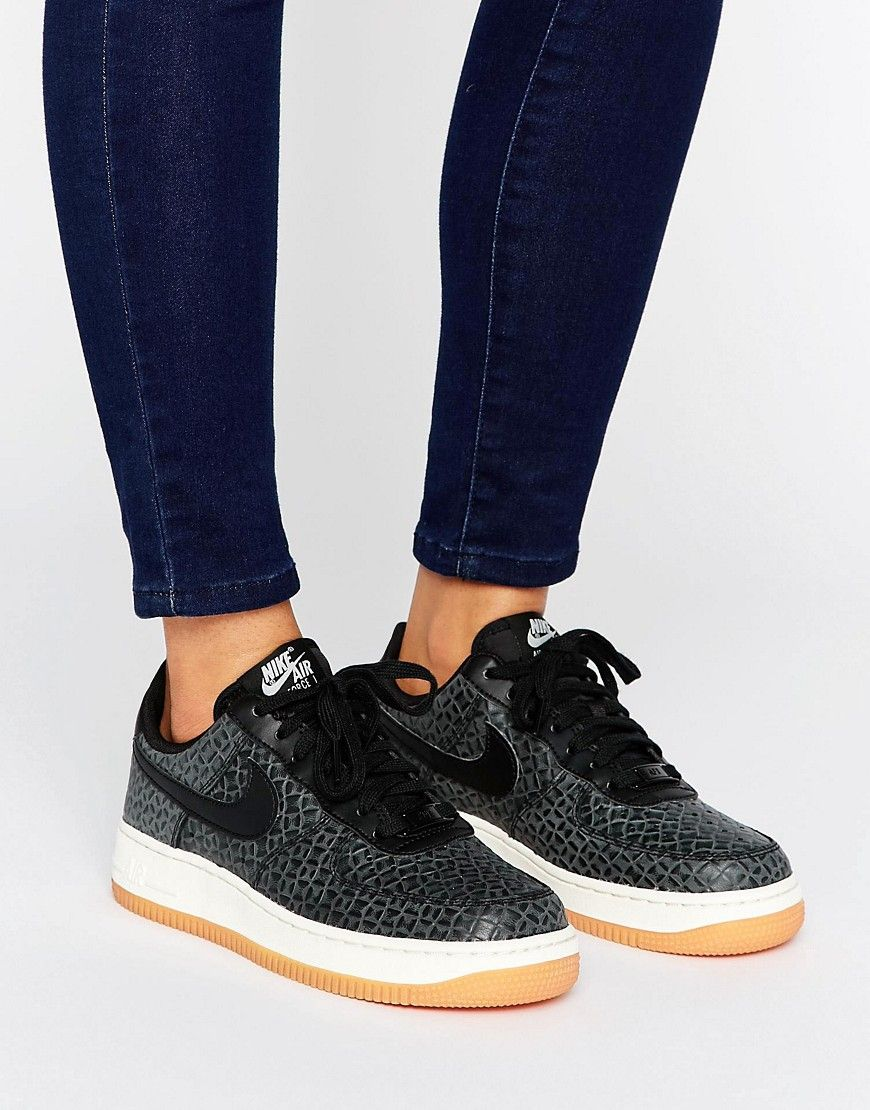hot sale online cbc1f bf384 Nike Air Force 1 Premium Trainers In Black - Black. Air Force 1 trainers by  Nike, Leather upper, Perforated toe-cap, Branded tongue and heel-tab, ...