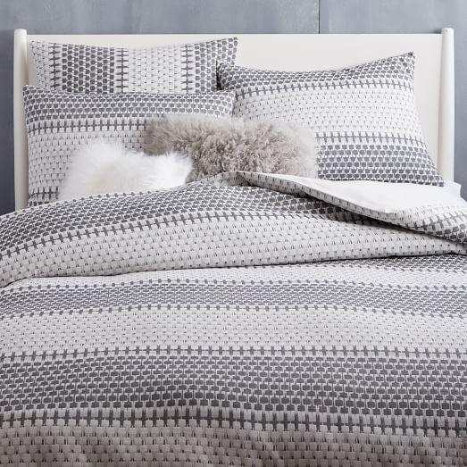 Organic Block Stripe Jacquard Duvet Cover Shams Black X2f White Duvet Covers Striped Duvet Covers Striped Duvet