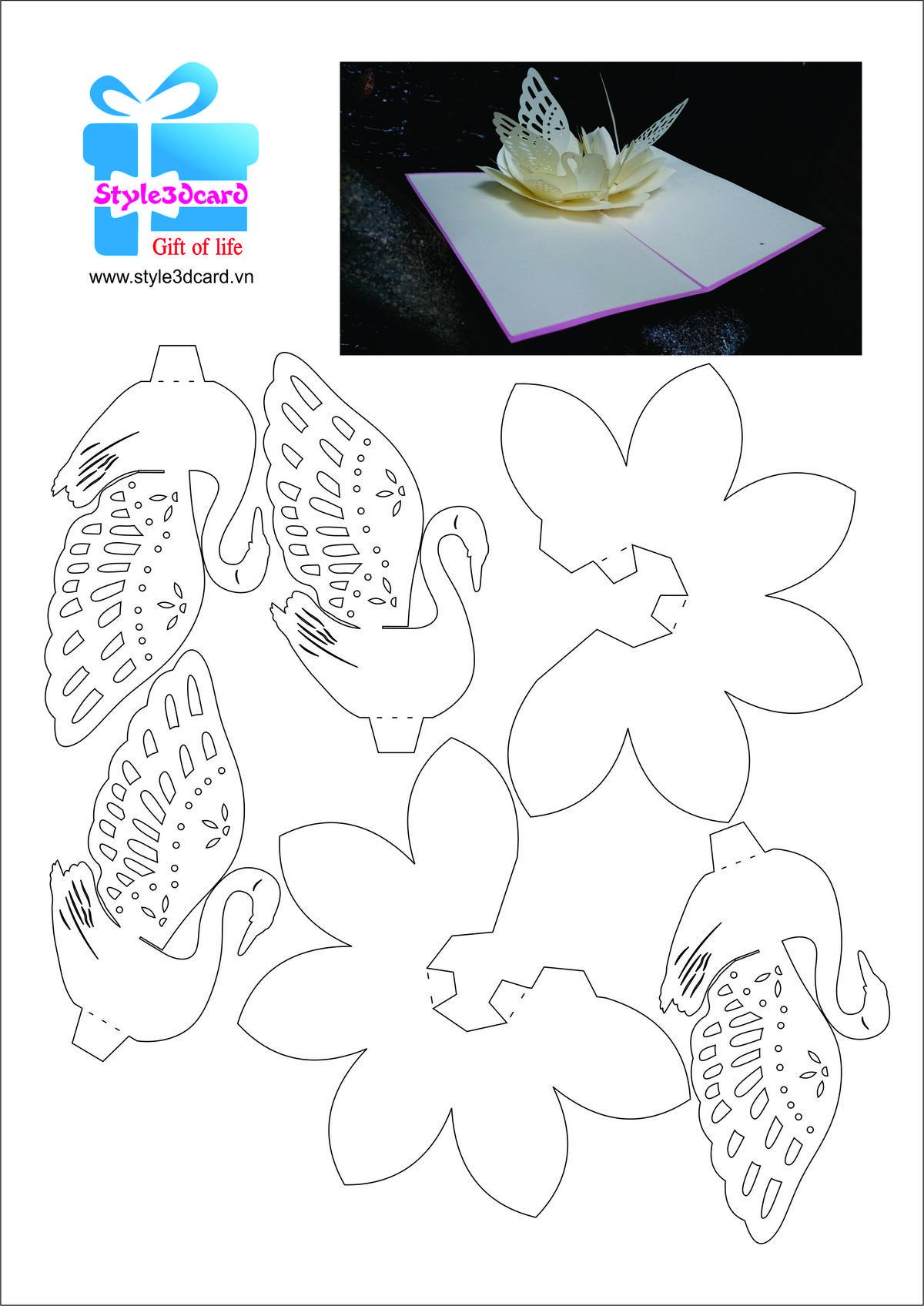 Love Swan 3d Pop Up Card 2 Dengan Gambar