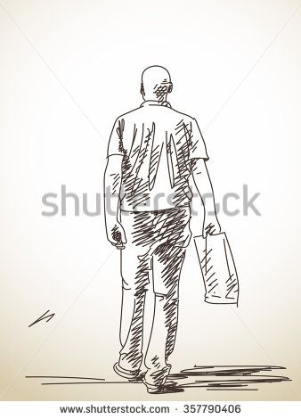 Stock Images Similar To Id 270540776 Sketch Of Old Man Walking Old Man Walking Hand Drawn Vector Illustrations Vector Sketch