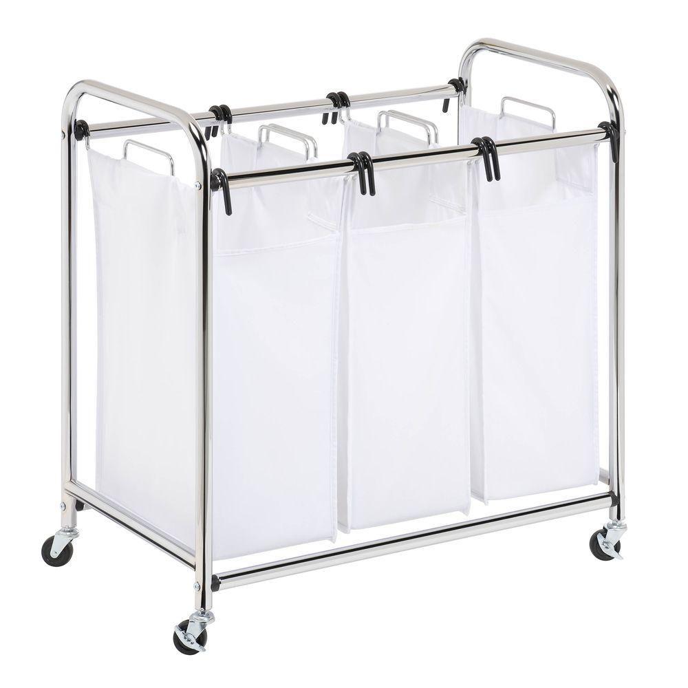Honey Can Do Heavy Duty Triple Laundry Sorter Chrome White Laundry Sorter Laundry Laundry Storage