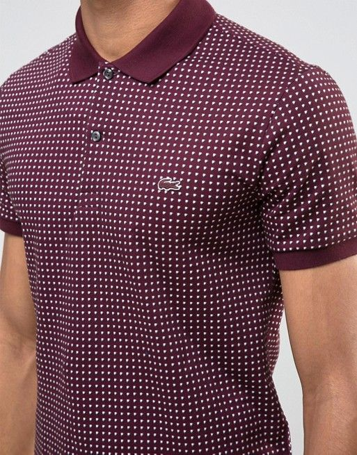 caba357416c2b Lacoste Polo Shirt With Polka Dot In Red Slim Fit