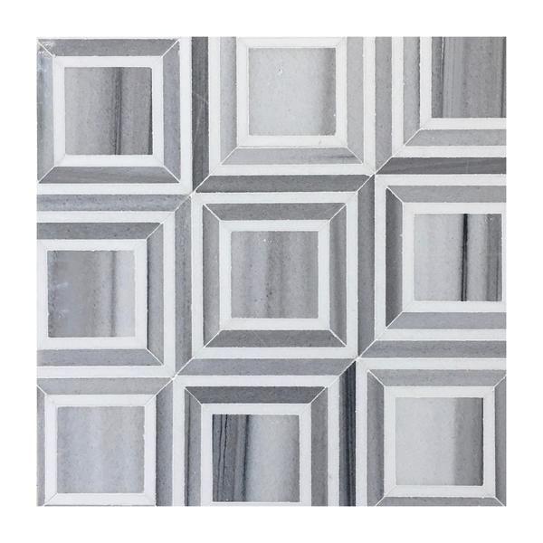Contemporary Square White Thassos Euro Grey Marble Geometric