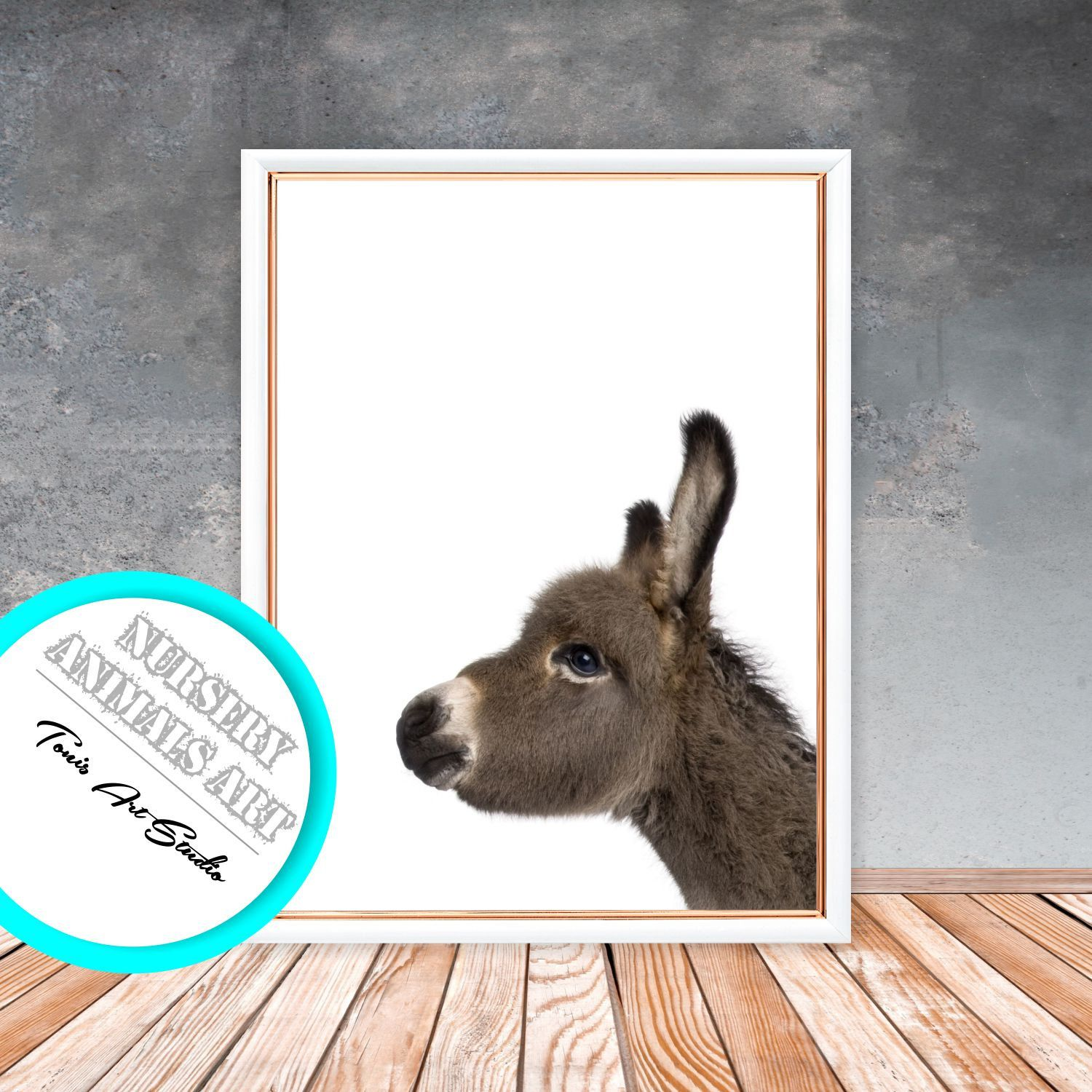 Donkey Print Nursery Wall Art Baby Shower Gifts Printable Kids Room Poster Animals Digital
