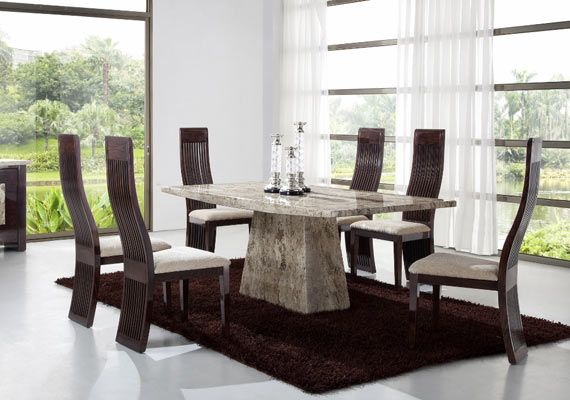 Marble Dining Room Furniture Add A Striking Dining Look With 2017 Contemporary Dining Room .