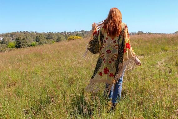 Beach Cover Up - Bohemian Honeymoon Clothing - Velvet Festival Kimono - Floral Kimono Plus Size - Velvet Kimono Duster - Honeymoon Gift #beachhoneymoonclothes