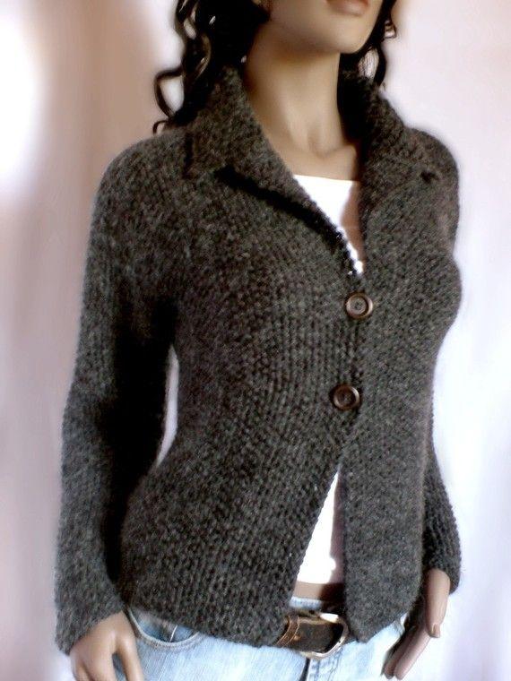 Women\'s hand knit sweater Knit coat Merino wool cardigan coat ...