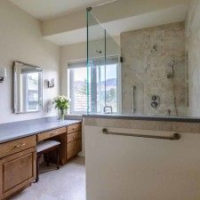 Peregrine Bathroom Remodel, Colorado Springs, Kraftmaid Fox Chase Maple  Cabinets, Concerto Quartz Countertop