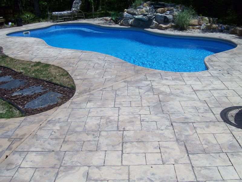 Gray Stamped Concrete Pool Deck Stamped Concrete Pool