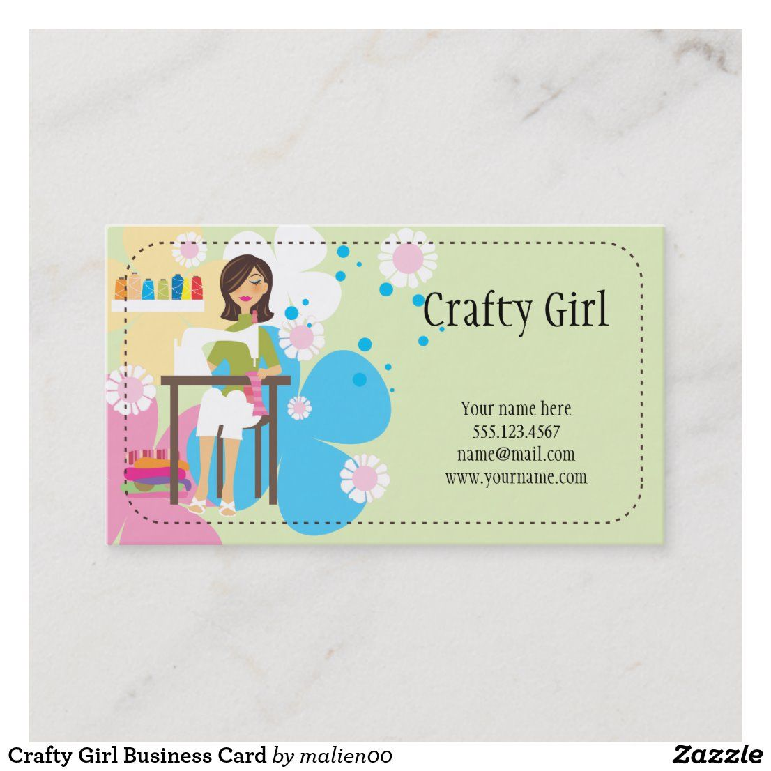 Crafty Girl Business Card Zazzle Com Craft Business Cards Cards Crafty