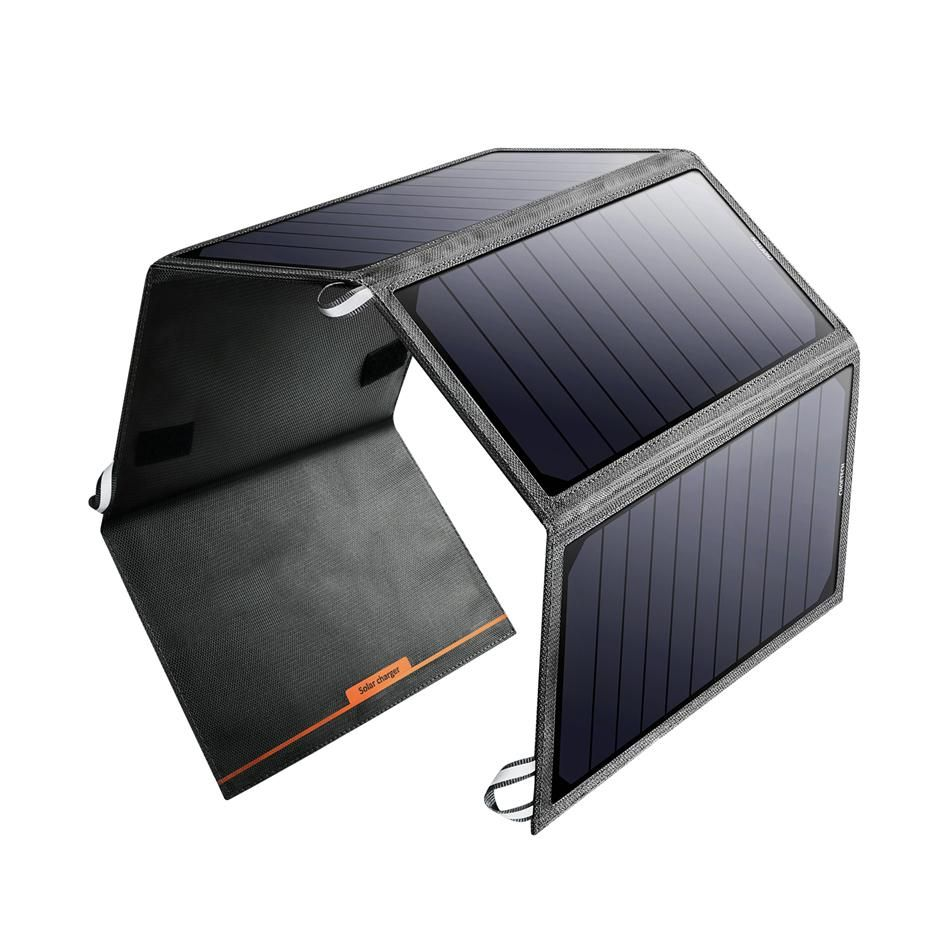 Amazon Com Ravpower 15w Solar Charger With Dual Usb Port Foldable Portable Ismart Technology C Solar Charger Portable Solar Charger Solar Battery Charger
