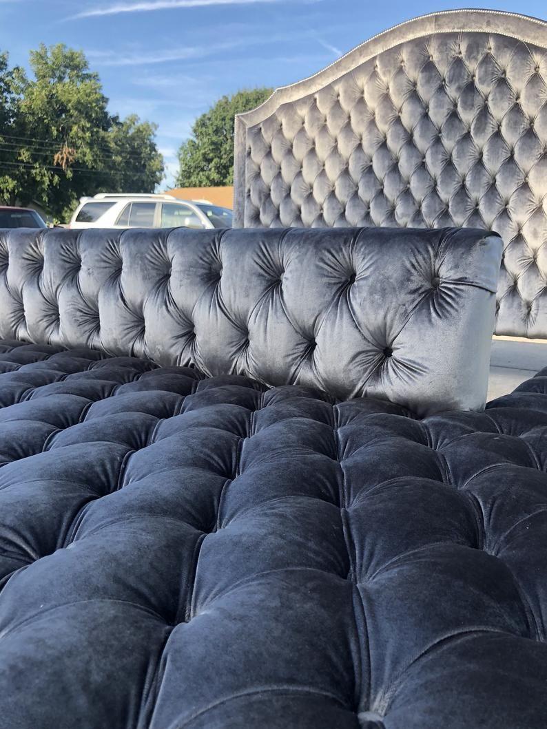 Tufted Platform Wide Bed Frame Extra Large Bed Ottoman