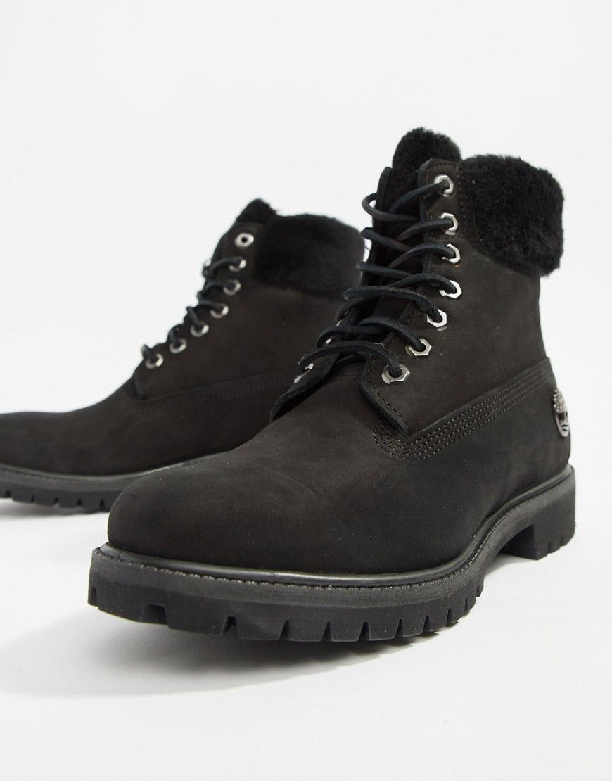 TIMBERLAND 6 INCH PREMIUM BOOTS WITH FAUX FUR COLLAR - BLACK.  timberland   shoes 12546eb71
