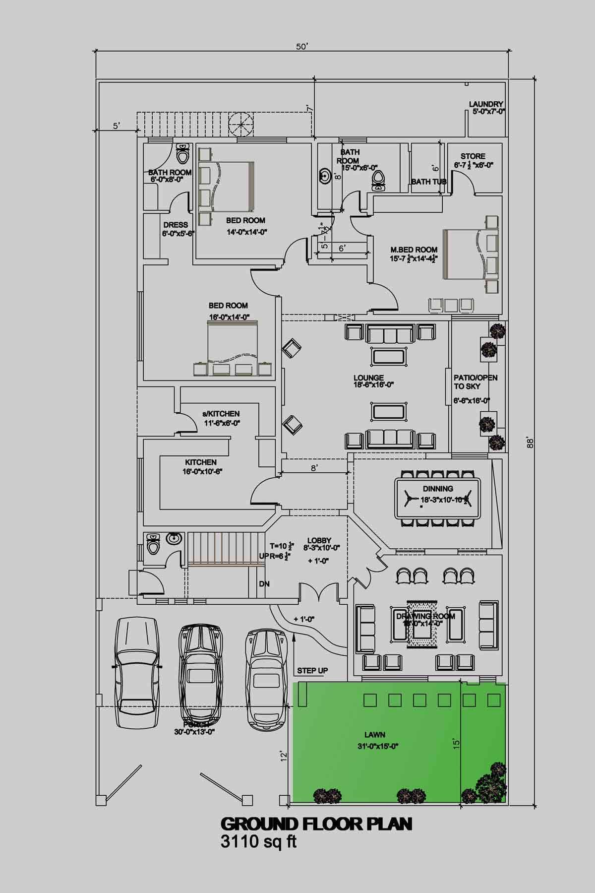 House Floor Plan By 360 Design Estate 1 Kanal Floor Plans Best House Plans Floor Plan Design