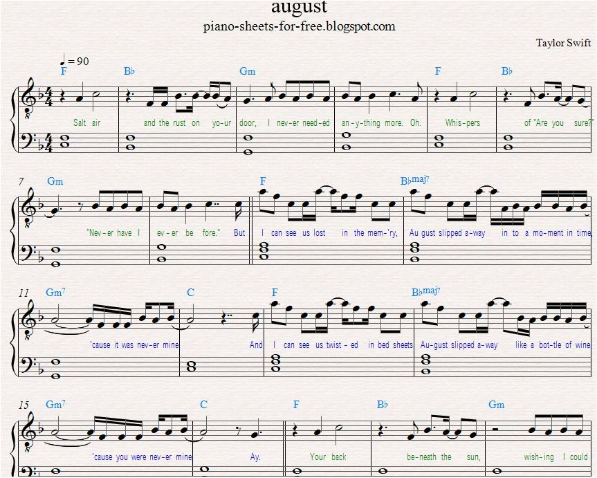 Taylor Swift — August Piano Sheet Music PDF Free in 2020