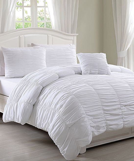 White Ruched Nikki Comforter Set Comforter Sets Bed Comforters