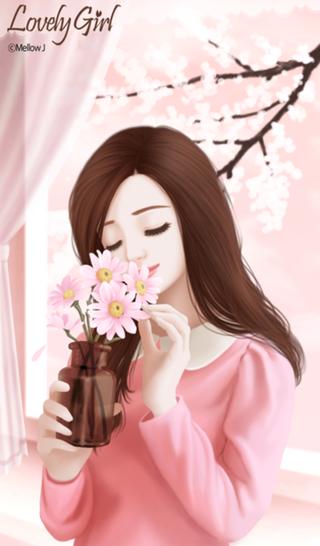 러블리걸(핑크데이지) 카카오톡테마 네이버 블로그 Korean Anime Pinterest