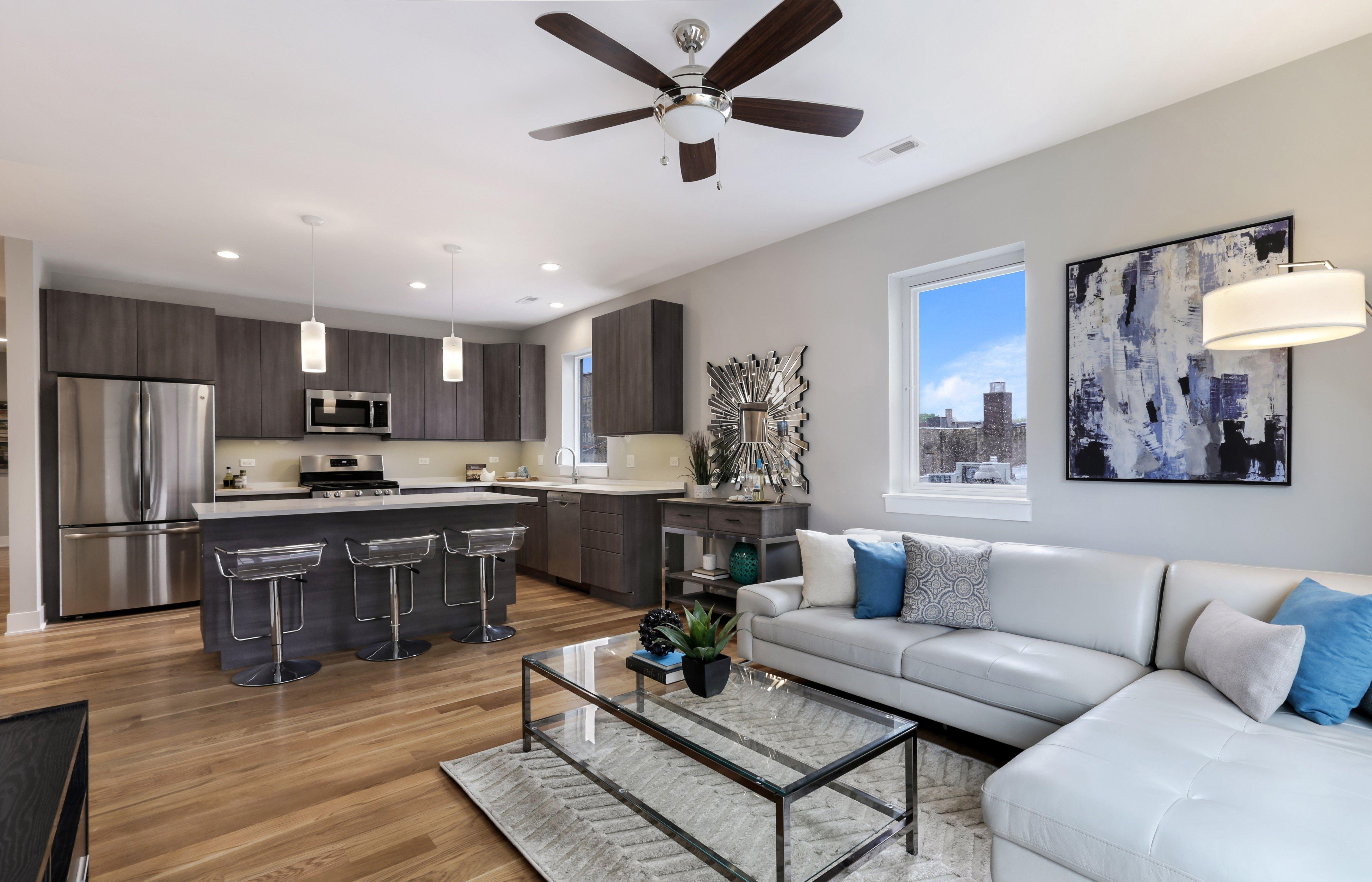 Modern Open Concept Living Room And Kitchen With Recessed Lighting Hardwood Floors Open Concept Living Room Modern Recessed Lighting Apartment Interior Design #recessed #lighting #placement #living #room