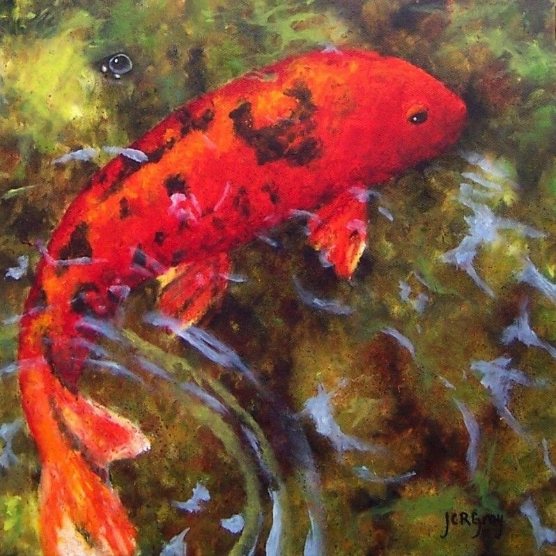 Red koi the art of julia c r gray original fine art oil for Original koi fish