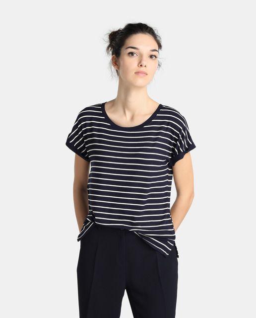 e44a90270 Camiseta de rayas de mujer Zendra El Corte Inglés con manga corta ...