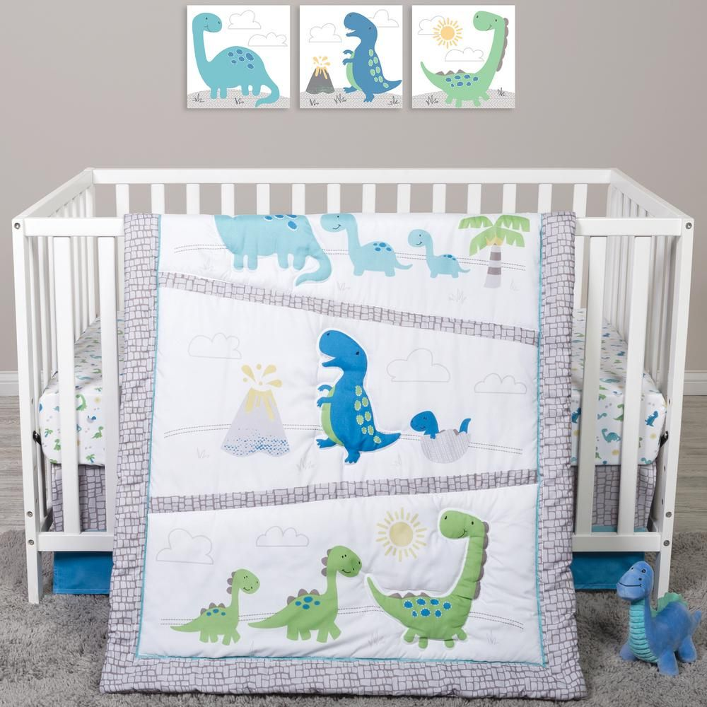 Sammy & Lou by Trend Lab Dinosaur Pals 4-Piece Crib Bedding Set, Blue/Green/Yellow