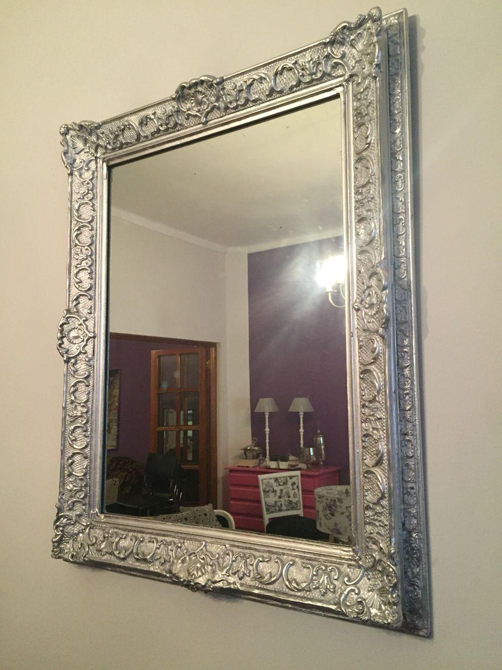 Espejo antiguo con molduras patinado en plateado mesas for Espejos con marco plateado