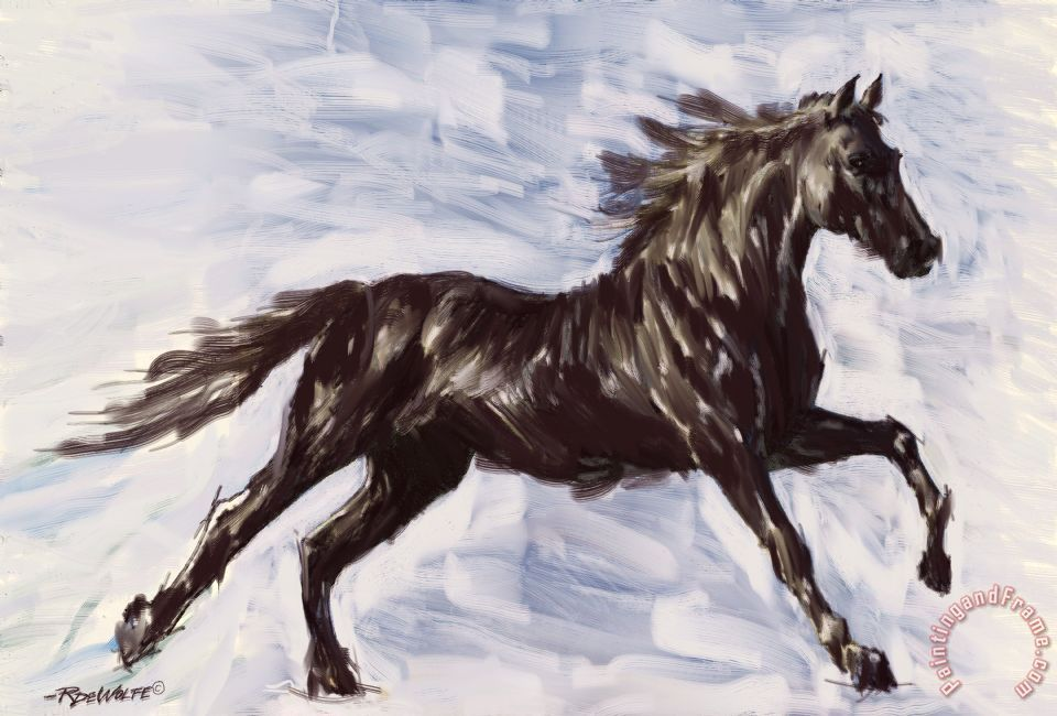 Richard de wolfe running horse painting running horse print for sale