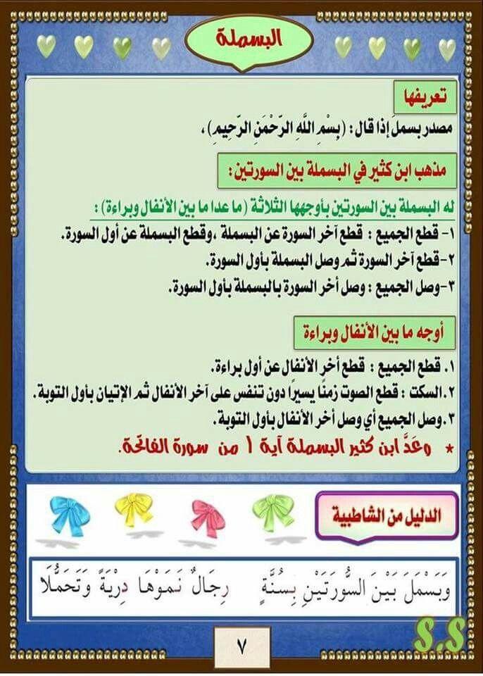 اصول الامام ابن كثير البسملة Quran Islam Education