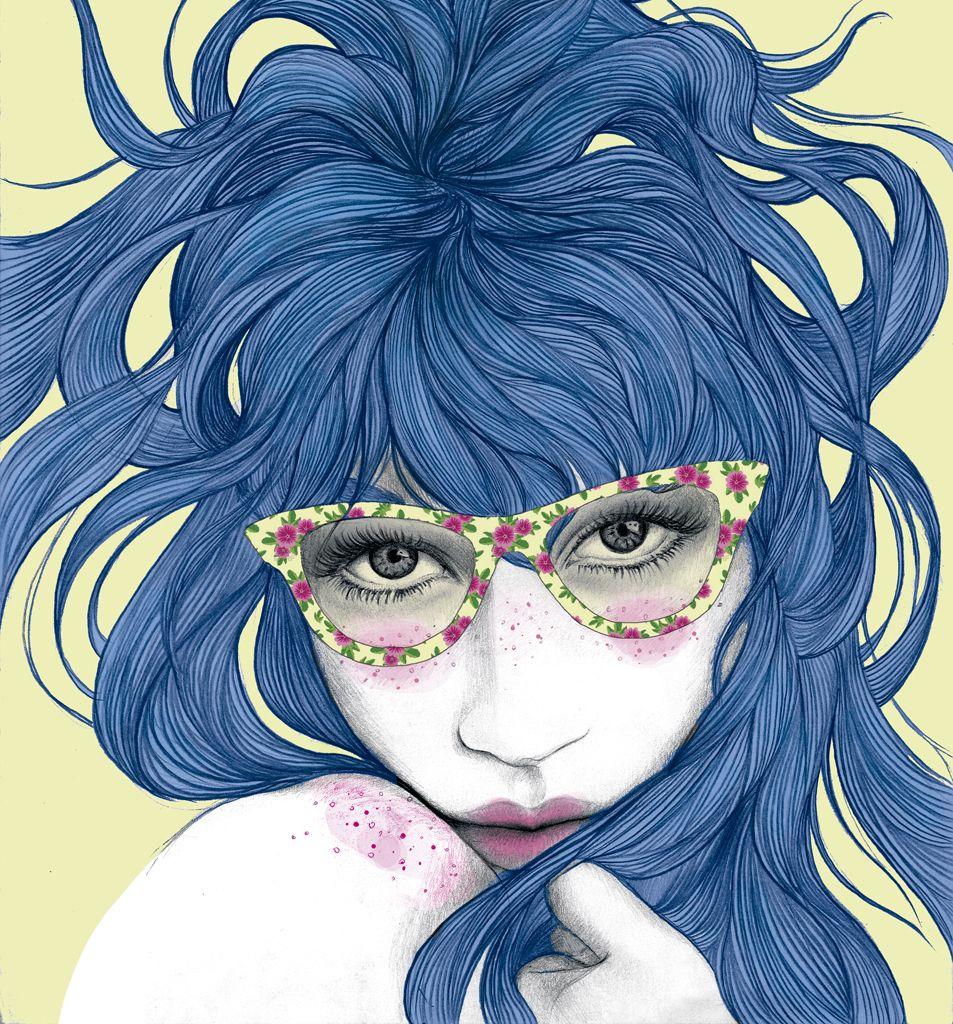 joven con gafas y pelo azul-ilustración de Mercedes deBellard