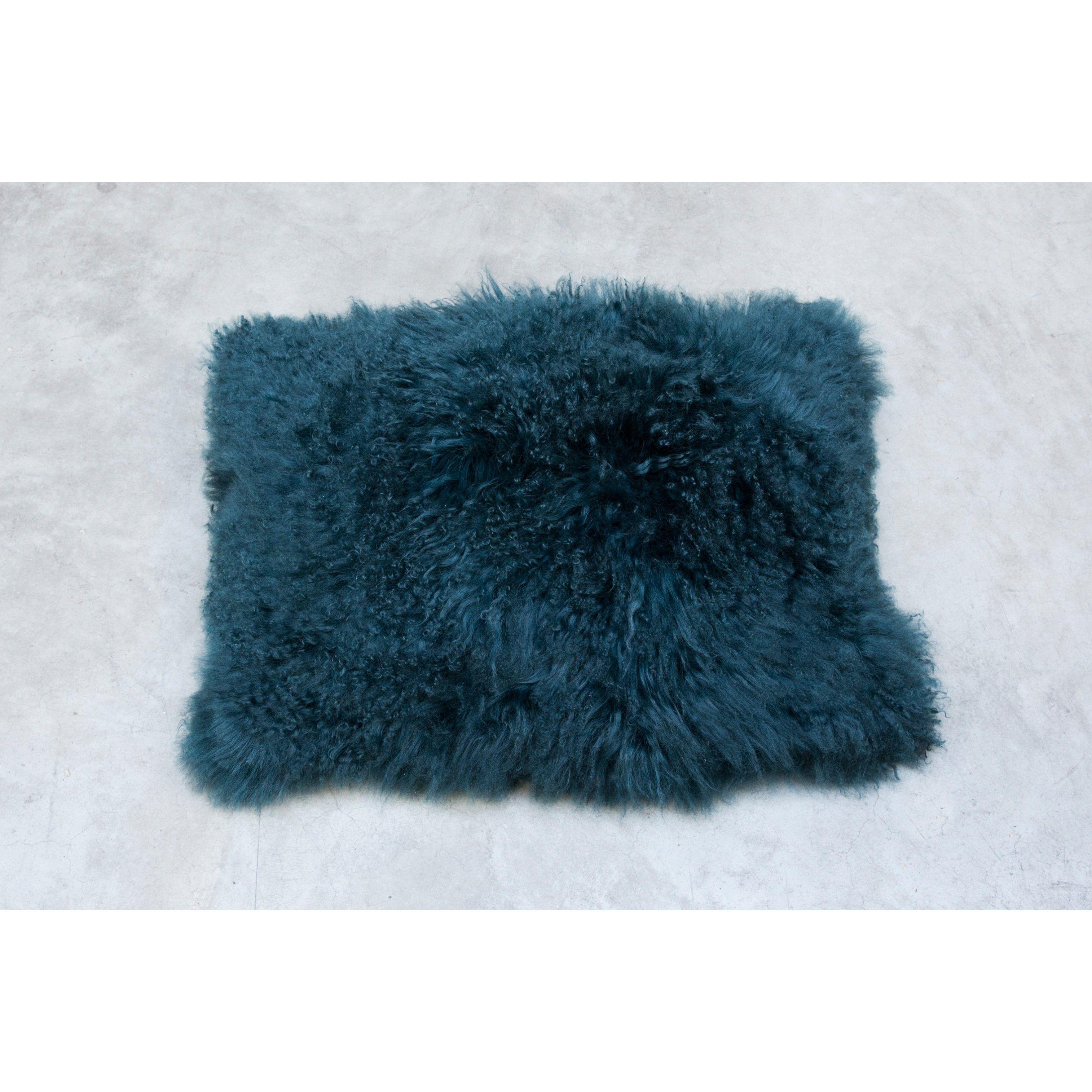 mongolian lamb fur cushion turquoise