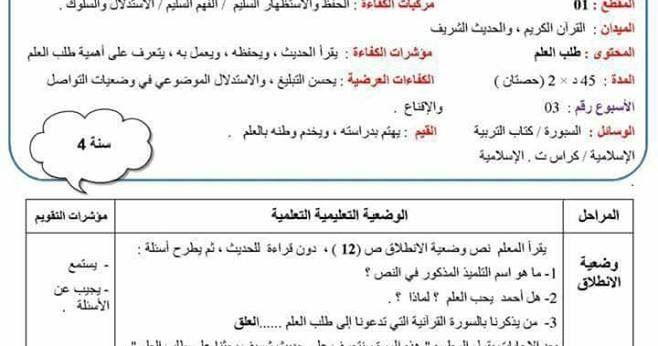 مذكرة التربية الاسلامية طلب العلم للسنة الرابعة الجيل الثاني Education Knowledge Math