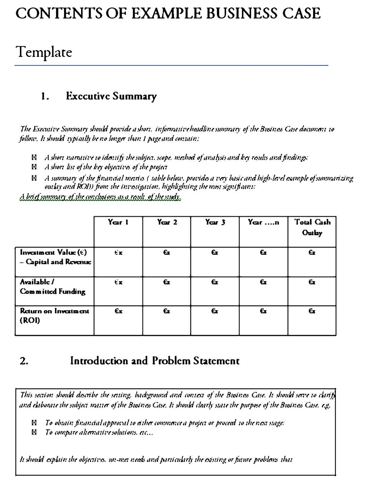 Printable Business Case Template in 2020 Business case