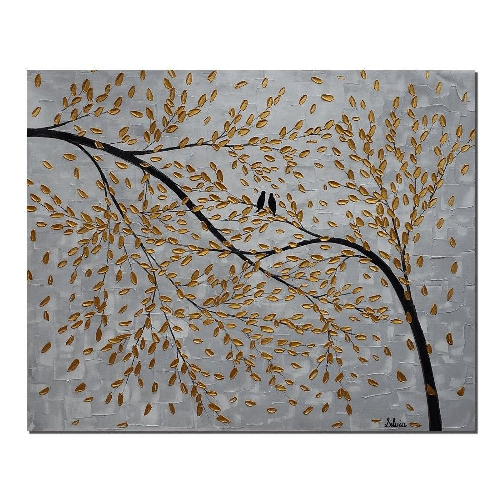 Love birds painting abstract wall art large canvas painting