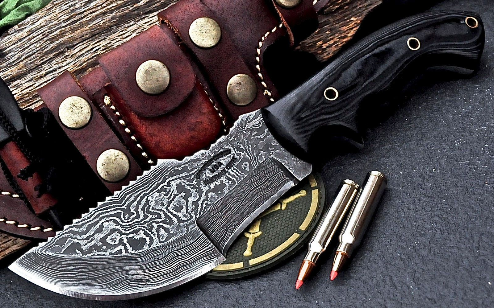 CFK USA Custom Handmade Damascus TRACKER Hunter Skinner Knife ...