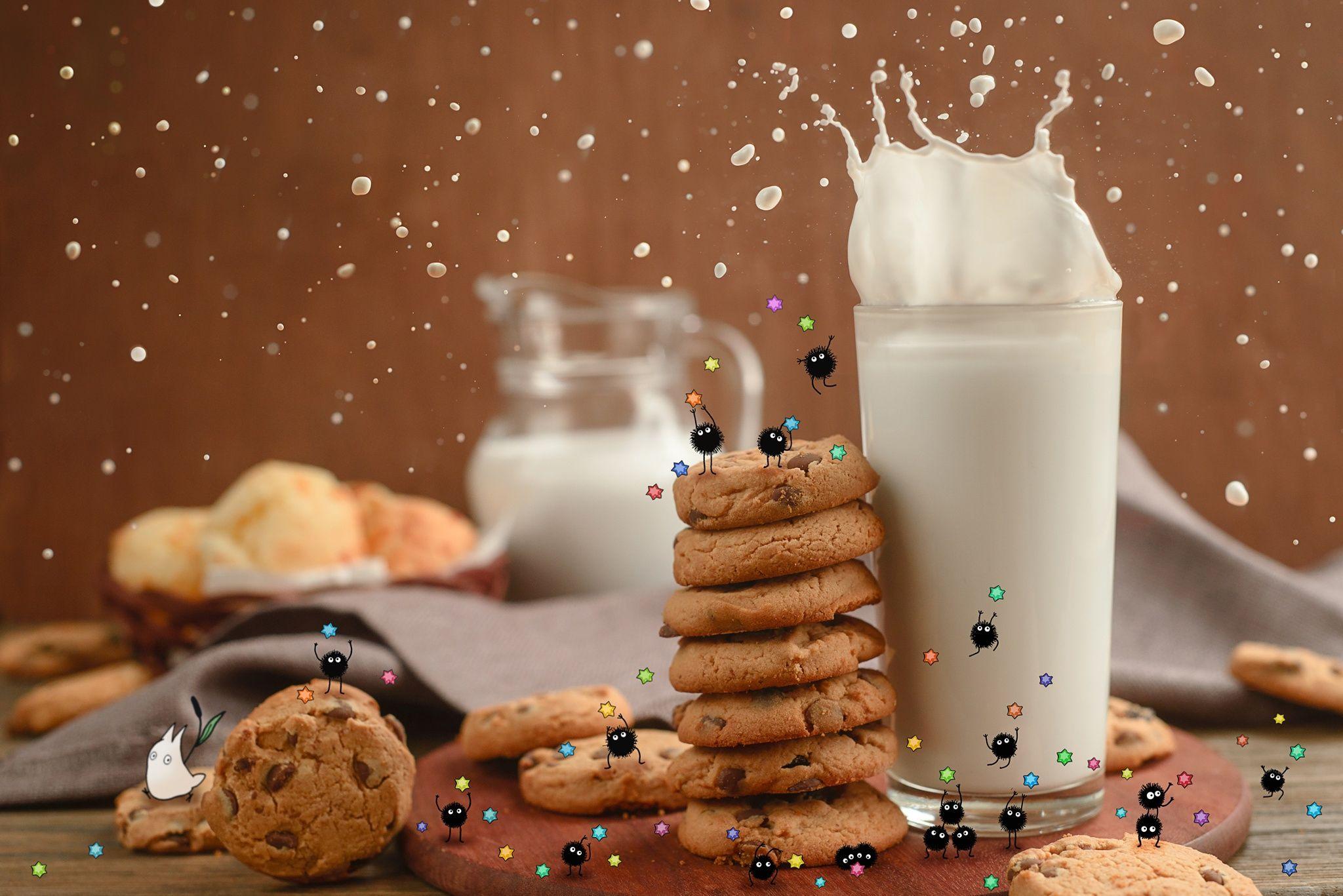 Картинка печенька и молоко