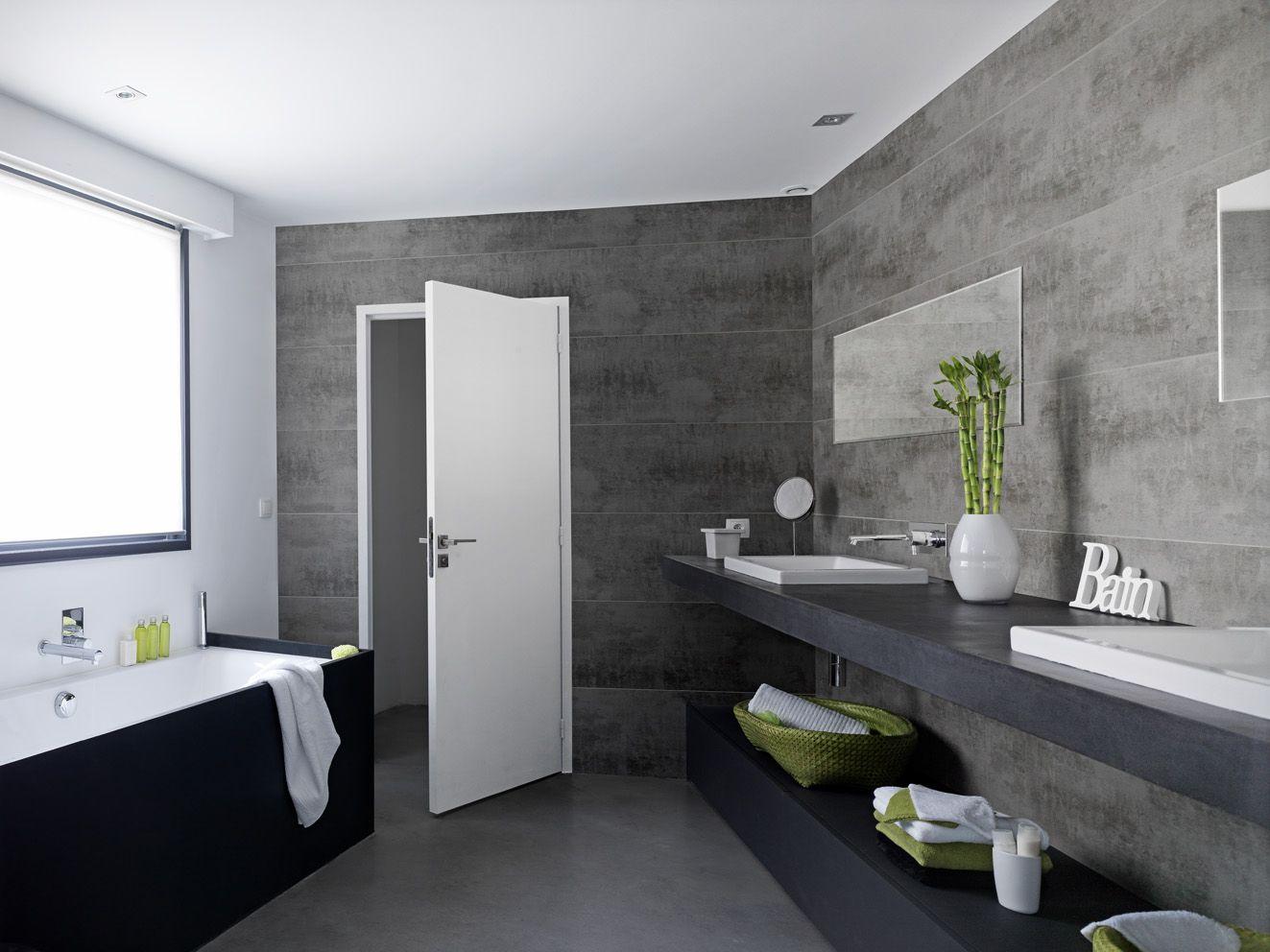 Effet béton !  Décoration petite salle de bain, Rénovation salle