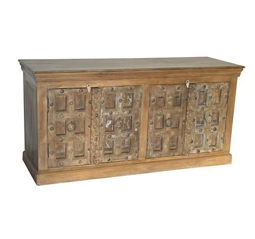 Antiqued Indian Sideboard Buffet Cabinet   Sideboards   Shop Nectar