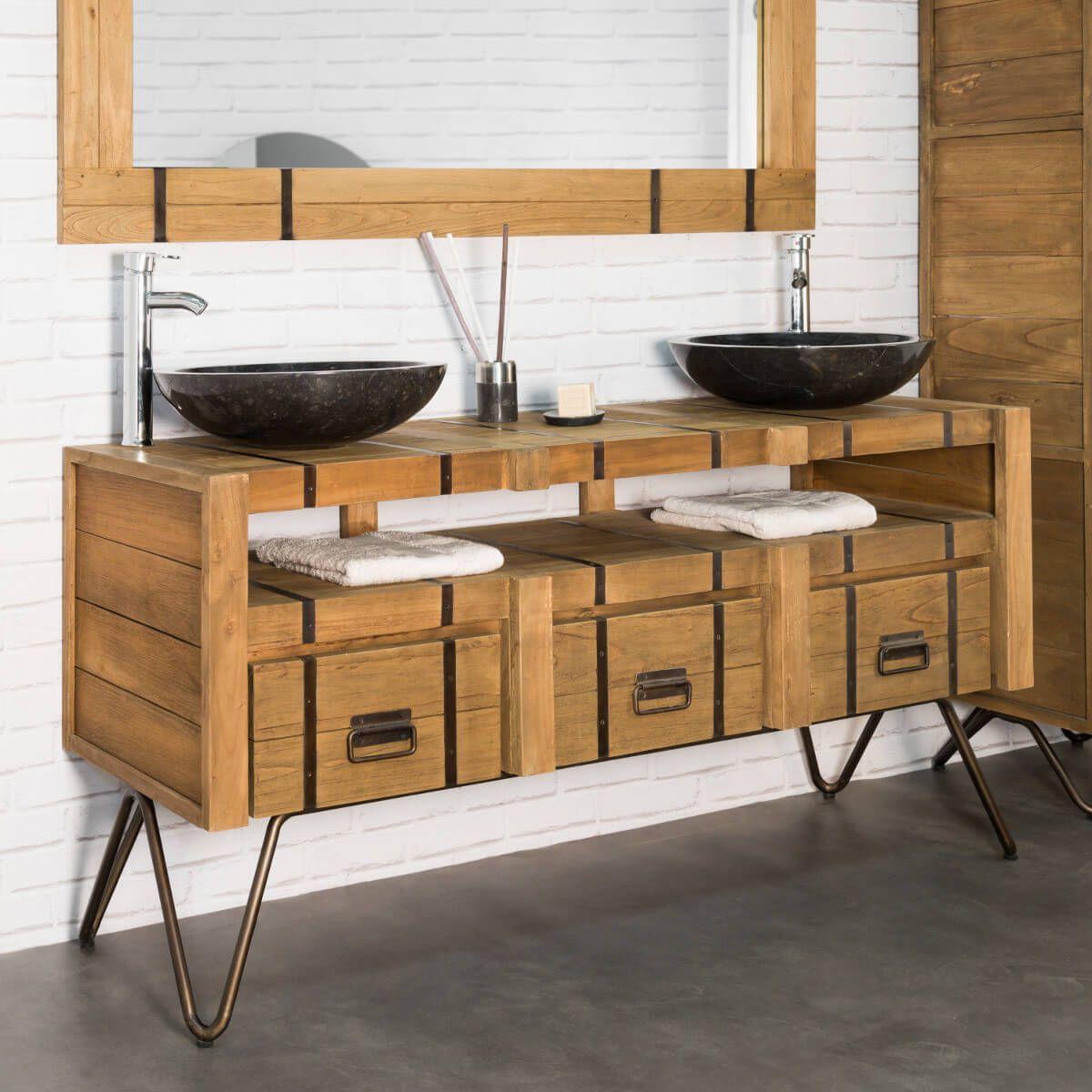 meuble double vasque en mindi et acier 160 loft naturel - Double Vasque