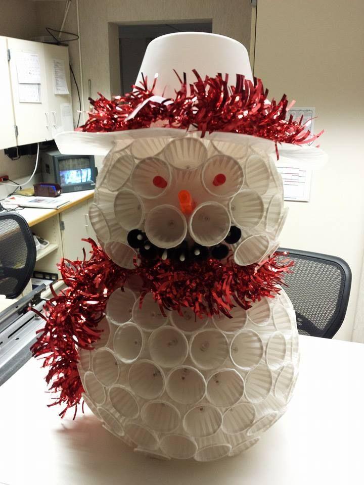 Christmas Decor Ideas Medicine Cup Snowman Office
