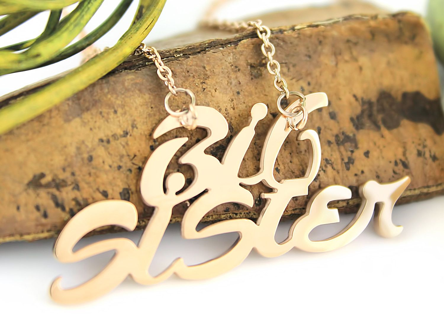 Sister necklace big sister gold tone necklace monogram pendant