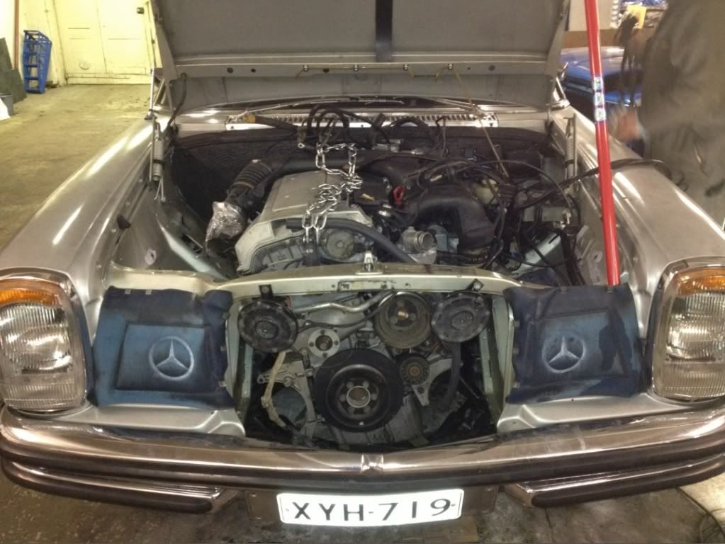 An M104 engine swapped into a W115 or W114 (can't tell but