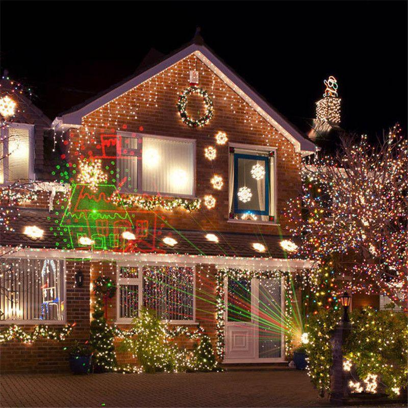 1xDual Color Christmas Laser Projectors Red Green Star Projectors