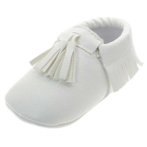 Voberry Infant Toddlers Baby Boys Girls Soft Soled Tassel Crib Shoes Pu Moccasins 04 Month White M Baby Moccasin Shoes Soft Baby Shoes Leather Baby Moccasins