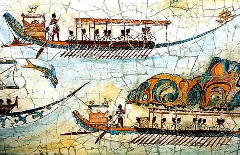 Akrotiri Island Of Santorini Fresco Of Minoan Fleet 16th