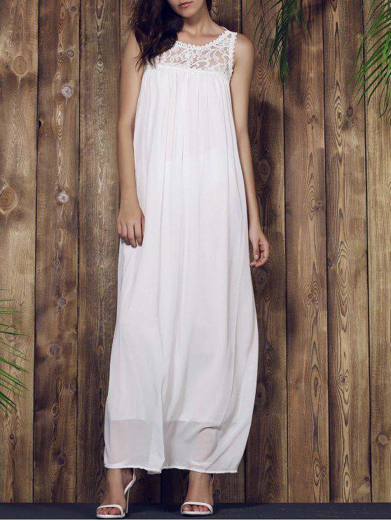 Lace Yoke Maxi Chiffon Beach Dress - WHITE L