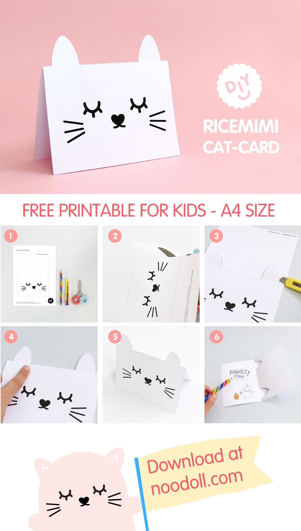 Make your own ricemimi greeting card with this fun diy cat cards free printable cat card bookmarktalkfo Choice Image