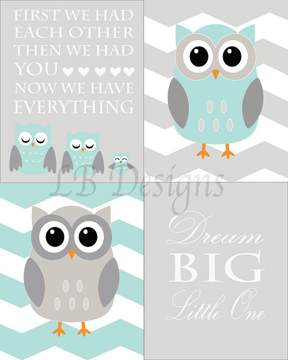 Set Of 4 Gender Neutral Aqua And Gray Owl Nursery By Ljbrodock 35 00 Woodland